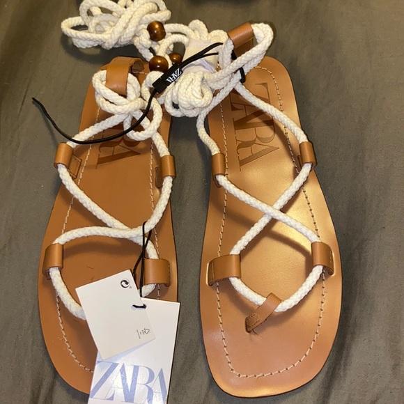 Zara Low rope sandals brown
